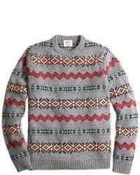 grauer Pullover mit einem Rundhalsausschnitt mit Fair Isle-Muster