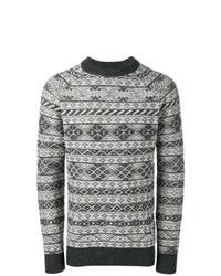 grauer Pullover mit einem Rundhalsausschnitt mit Norwegermuster von Diesel Black Gold