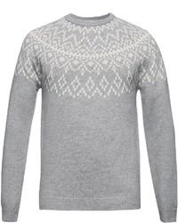 grauer Pullover mit einem Rundhalsausschnitt mit Norwegermuster von Esprit