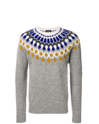 grauer Pullover mit einem Rundhalsausschnitt mit Norwegermuster von Joseph