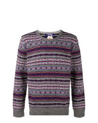 grauer Pullover mit einem Rundhalsausschnitt mit Norwegermuster von Junya Watanabe