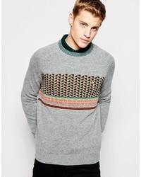 grauer Pullover mit einem Rundhalsausschnitt mit Norwegermuster von Lyle & Scott