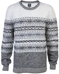 grauer Pullover mit einem Rundhalsausschnitt mit Norwegermuster von McQ by Alexander McQueen