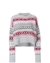 grauer Pullover mit einem Rundhalsausschnitt mit Norwegermuster von Miu Miu
