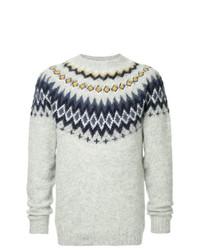 grauer Pullover mit einem Rundhalsausschnitt mit Norwegermuster von Norse Projects