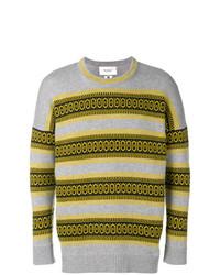 grauer Pullover mit einem Rundhalsausschnitt mit Norwegermuster von Pringle Of Scotland
