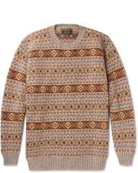 grauer Pullover mit einem Rundhalsausschnitt mit Norwegermuster