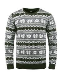 grauer Pullover mit einem Rundhalsausschnitt mit Norwegermuster von Solid