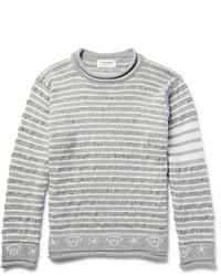grauer Pullover mit einem Rundhalsausschnitt mit Norwegermuster von Thom Browne
