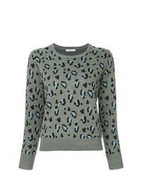 grauer Pullover mit einem Rundhalsausschnitt mit Leopardenmuster von GUILD PRIME