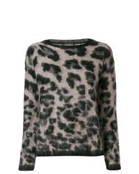 grauer Pullover mit einem Rundhalsausschnitt mit Leopardenmuster von Luisa Cerano