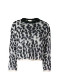 grauer Pullover mit einem Rundhalsausschnitt mit Leopardenmuster von Nude