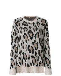 grauer Pullover mit einem Rundhalsausschnitt mit Leopardenmuster von R13