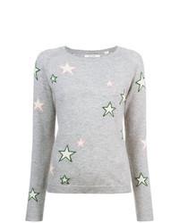 grauer Pullover mit einem Rundhalsausschnitt mit Sternenmuster
