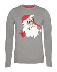grauer Pullover mit einem Rundhalsausschnitt mit Weihnachten Muster von Tom Tailor