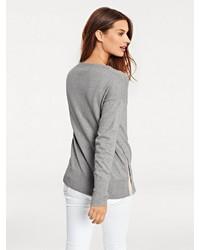grauer Pullover mit einem Rundhalsausschnitt von B.C. BEST CONNECTIONS by Heine