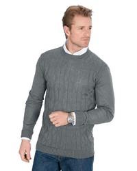 grauer Pullover mit einem Rundhalsausschnitt von Classic