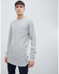grauer Pullover mit einem Rundhalsausschnitt von D-struct
