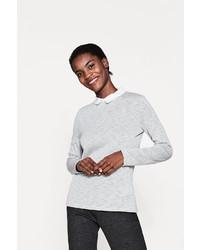 grauer Pullover mit einem Rundhalsausschnitt von Esprit