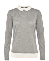 grauer Pullover mit einem Rundhalsausschnitt von Fransa