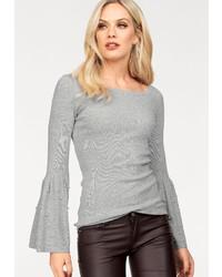 grauer Pullover mit einem Rundhalsausschnitt von Hailys
