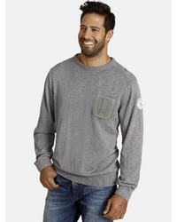 grauer Pullover mit einem Rundhalsausschnitt von Jan Vanderstorm