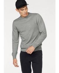 grauer Pullover mit einem Rundhalsausschnitt von John Devin