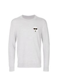 grauer Pullover mit einem Rundhalsausschnitt von Karl Lagerfeld