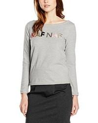 grauer Pullover mit einem Rundhalsausschnitt von Naf Naf