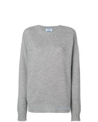 grauer Pullover mit einem Rundhalsausschnitt von Prada
