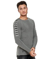 grauer Pullover mit einem Rundhalsausschnitt von Redbridge