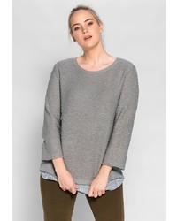grauer Pullover mit einem Rundhalsausschnitt von SHEEGO CASUAL