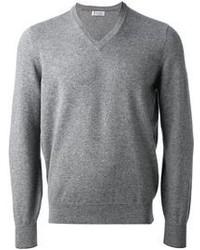 grauer Pullover mit einem V-Ausschnitt