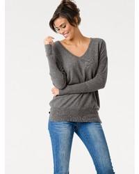 grauer Pullover mit einem V-Ausschnitt von ASHLEY BROOKE by Heine