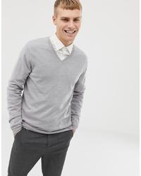 grauer Pullover mit einem V-Ausschnitt von ASOS DESIGN