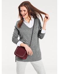 grauer Pullover mit einem V-Ausschnitt von B.C. BEST CONNECTIONS by Heine
