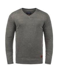grauer Pullover mit einem V-Ausschnitt von BLEND