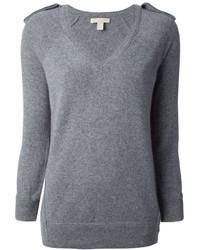 grauer Pullover mit einem V-Ausschnitt von Burberry
