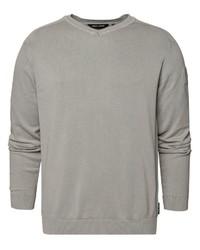 grauer Pullover mit einem V-Ausschnitt von CODE-ZERO