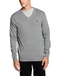 grauer Pullover mit einem V-Ausschnitt von Crew Clothing