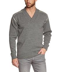 grauer Pullover mit einem V-Ausschnitt von Dale of Norway