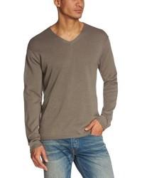 grauer Pullover mit einem V-Ausschnitt von Eddie Bauer