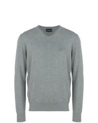 grauer Pullover mit einem V-Ausschnitt von Emporio Armani