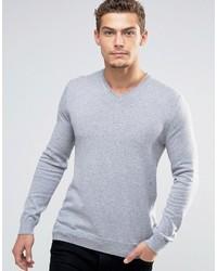 grauer Pullover mit einem V-Ausschnitt von Esprit