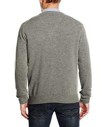 grauer Pullover mit einem V-Ausschnitt von Gant