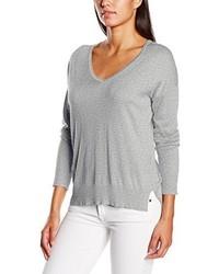 grauer Pullover mit einem V-Ausschnitt von Gestuz