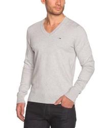 grauer Pullover mit einem V-Ausschnitt von Hilfiger Denim