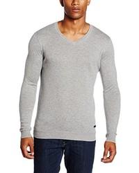 grauer Pullover mit einem V-Ausschnitt von Lee