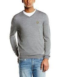 grauer Pullover mit einem V-Ausschnitt von Lyle & Scott