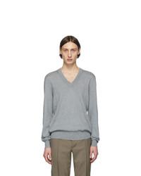 grauer Pullover mit einem V-Ausschnitt von Maison Margiela